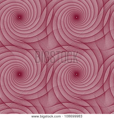 Maroon repeating fractal curved line pattern