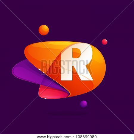 R Letter With Atoms Orbits Colorful Icon.