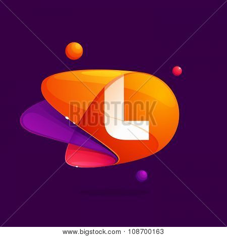 L Letter With Atoms Orbits Colorful Icon.