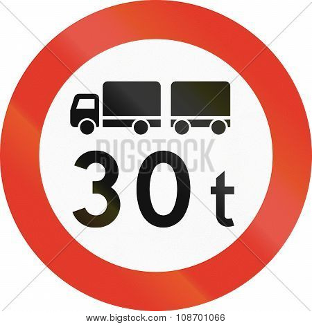 Norwegian Regulatory Road Sign - No Trucks Over 30 Tons