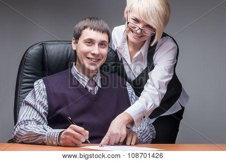 Elegant secretary and boss