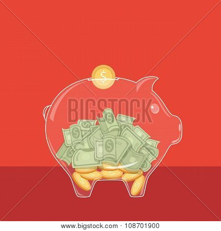 Glassy Piggy Bank with dollar bills and coins