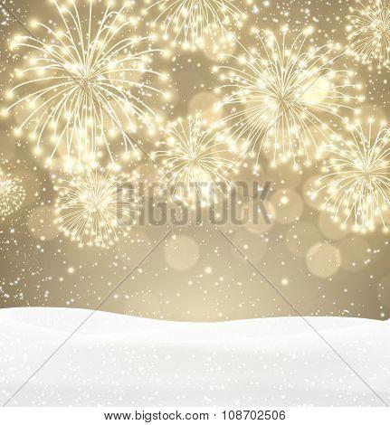 Festive xmas firework sepia background. Vector illustration.
