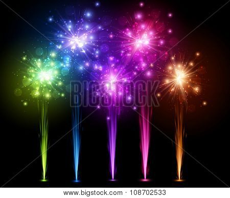 Festive color firework on black background. Vector illustration.