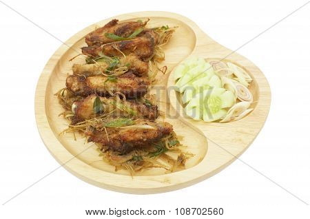 Deep fried chicken wings with lemongrass, Thai food