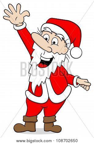 Waving Cartoon Santa Claus On White