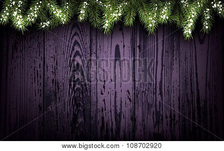 Wooden background with fir branches. Vector paper illustration.