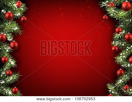 Christmas red background with fir branches and balls. Vector illustration.