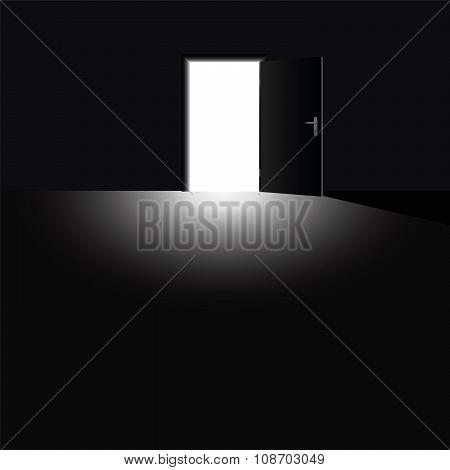 Open Door Light Escape Darkness Black