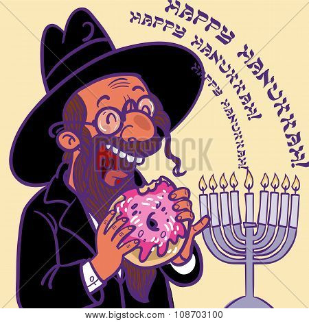 Funny Cartoon Vector Hanukkah Card. Happy Chanukah!
