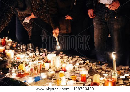 People Gathering In Solidarity With Victims From Paris Assaults