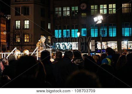 Man Delivers A Speech In Center Of Strasbour