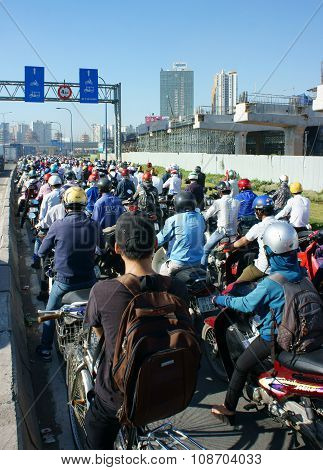 Rush Hour, Motorbike, Traffic Jam, Asian City