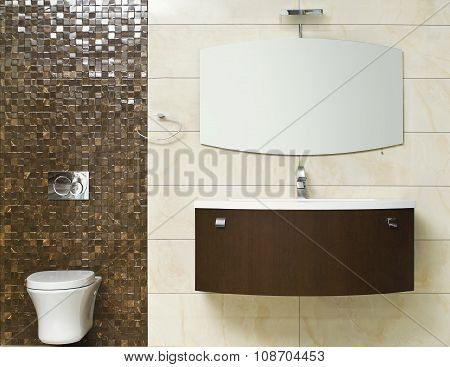 faucet, sink, mirror and toilet - part of modern bathroom closeup