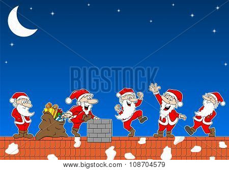 Group Of  Santas At Work On A Roof