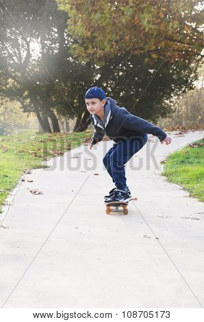 boy rides a skateboard