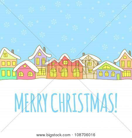 Winter houses.Christmas greeting card.