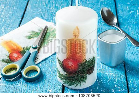 Decoupage Candles For Christmas Design