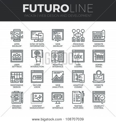 Web Development Futuro Line Icons Set