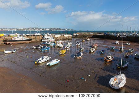Devon harbour Paignton England with view towards tourist destinations of Torquay
