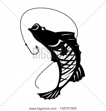 The Barramundi fish and hook vector design