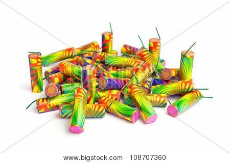 Heap Of Colorful Firework Isolated On White