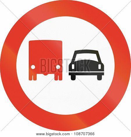 Norwegian Regulatory Road Sign - No Overtaking For Trucks