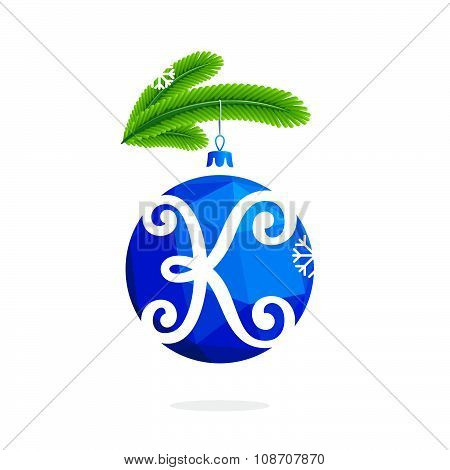 K Letter With Blue Crystal Christmas Ball.