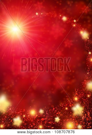 Red sparkling background with stars. Vector illustration.