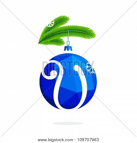 V Letter With Blue Crystal Christmas Ball.