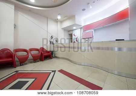 Interior Of A Modern Waiting Room With Reception Desk - Reception Area