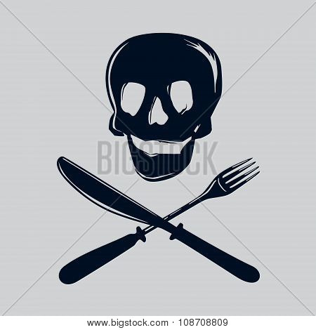 Skull silhouette with fork and knife.