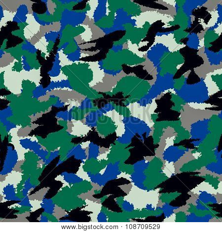 Forest Mixed War Camouflage Seamless Pattern. Can Be Used For Wallpaper, Pattern Fills, Web Page Bac