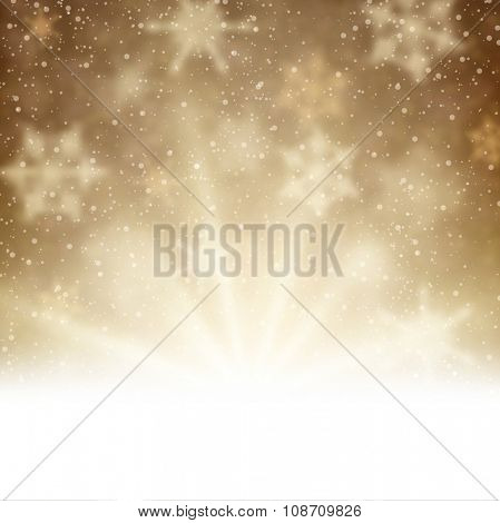 Winter aurora background. Vector paper illustration.