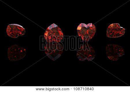 Luxury Jewelry Background with gemstones. Diamond heart shape.Garnet