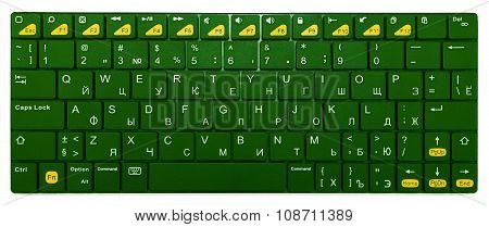 Green Chrome Modern Laptop Bluetooth Keyboard Isolated On White