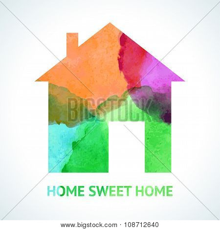 Watercolour sweet home icon on white background. illustration