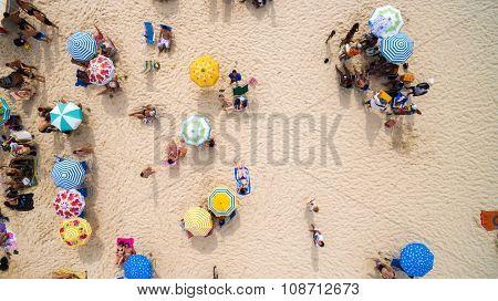 RIO DE JANEIRO, BRAZIL - CIRCA NOVEMBER 2015: Beach on a top angle of view in Rio de Janeiro, Brazil