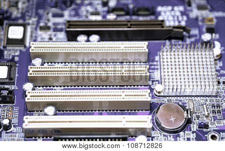 Violet Computer Motherboard With Blur Effect Macro