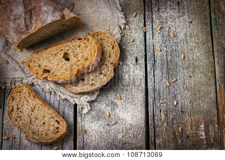 Rustic Food Background With Fresh Homemade Whole Wheat Bread