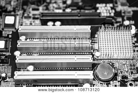 Computer Motherboard With Blur Effect Macro Black And White