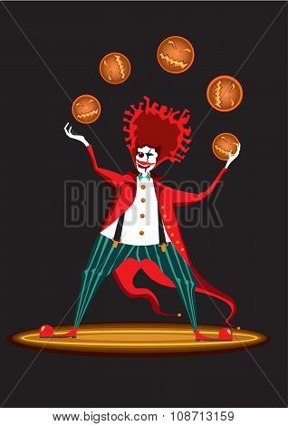 Clown from hell with pumpkins