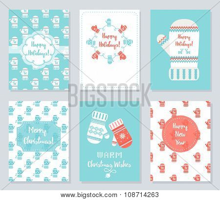 Christmas and New Year Greeting Cards Set. Knitted Mittens Theme Vector Illustration