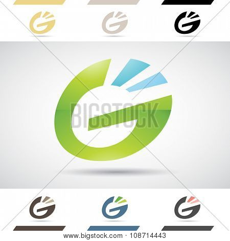 Design Concept of Colorful Stock Icons and Shapes of Letter G, Vector Illustration