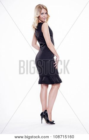 Portrait of beautiful young adult attractive sexy and sensuality pretty blonde woman elegance business style dress, Isolated on white background