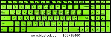 Modern Black And Green Laptop Keyboard Isolated