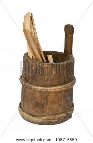 An  Old  Rustic  Utensils,  Barrel Of Wood