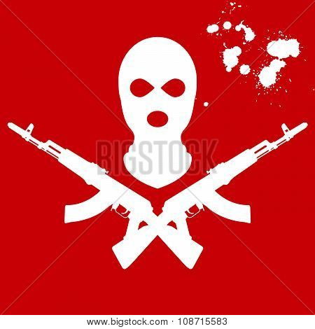 Balaclava and two crossed guns - terrorist's mask