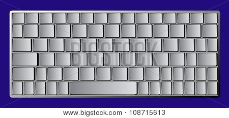 Modern Chrome Laptop Bluetooth Keyboard Isolated On Blue Background
