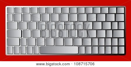 Modern Chrome Laptop Keyboard Isolated On Red Background